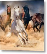 Horse Herd Run In Desert Sand Storm Metal Print