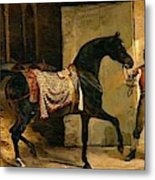 Horse Leaving A Stable Metal Print