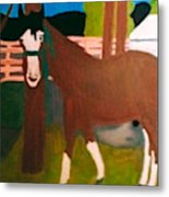Horse On A Ranch Metal Print