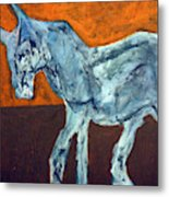 Horse On Orange Metal Print