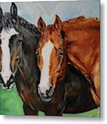 Horses In Oil Paint Metal Print