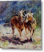 Horses On Work Metal Print
