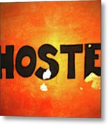 Hostel Sign On Wall Metal Print