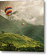 Hot Air Balloons Over Tea Plantations Metal Print