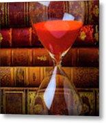 Hourglass And Old Books Metal Print