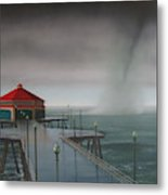 Huntington Beach Pier waterspout Metal Print