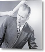 Husband Being Hit With Rolling Pin Metal Print