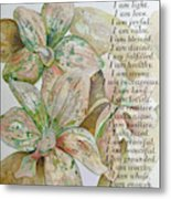 I Am...positive Affirmation In Coral And Green Metal Print