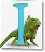 I Is For Iguana Metal Print