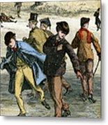 Ice Skating, 19th Century Metal Print