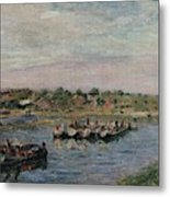 Idle Barges On The Loing Canal At Saint-mammes Metal Print