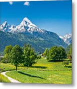 Idyllic Summer Landscape In The Alps Metal Print