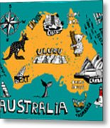 Illustrated Map Of Australia Metal Print