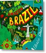 Illustrated Map Of Brazil Metal Print