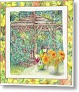 Illustrated Sunflower Picnic Metal Print