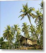 India, Goa, Beach Huts On Palolem Metal Print