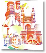 Indian Monuments Collage Metal Print