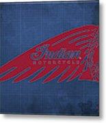Indian Motorcycle Old Vintage Logo Blue Background Metal Print