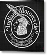 Indian Motorcycle Old Vintage Logo Blueprint Background Metal Print
