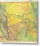 Indian Territory Tribal Map Northern Texas Metal Print