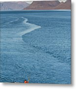 Inuit Man Paddling Traditionally Shaped Metal Print