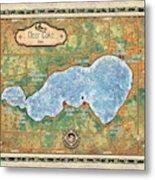 Iowa Clear Lake Custom Map Custom Map Art Metal Print