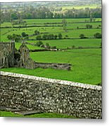 Ireland Country Scape With Castle Ruins Metal Print