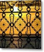 Iron Lattice Pattern St Malo Sunset Metal Print