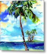 Island Solitude Palm Tree And Sunny Beach Metal Print