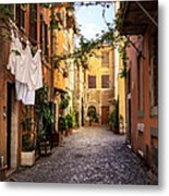Italian Old Town Trastevere In Rome Metal Print