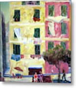Italian Piazza With Laundry Metal Print