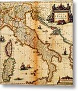 Italy Map 1635 Metal Print