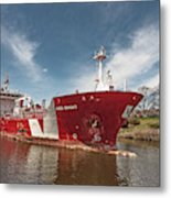 Iver Bright Tanker On The Manistee River Metal Print