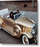 Jack Smith In Gold Plated 1931 Cadillac Metal Print