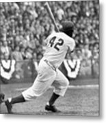 Jackie Robinson At Bat Metal Print