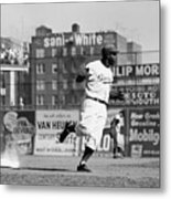 Jackie Robinson Rounds The Bases Metal Print