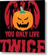 Jackolantern Scary Ghost Zombie Pumpkin Halloween Dark Metal Print