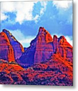 Jack's Canyon Village Of Oak Creek Arizona Sunset Red Rocks Blue Cloudy Sky 3152019 5080  Metal Print