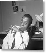 James Baldwin Sitting Smoking Metal Print