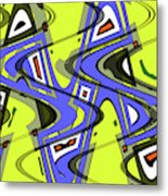 Janca Yellow And Blue Wave Abstract, Metal Print