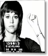 Jane Fonda Mug Shot Metal Print
