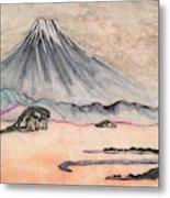 Japan Art And Mount Fuji - Suzuki Kiitsu In Color By Sawako Utsumi Metal Print