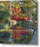 Japanese Garden Red Bridge Reflection Metal Print