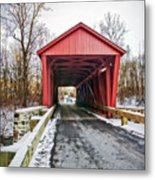 Jericho Covered Bridge Snow Metal Print