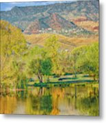 Jerome Reflected In Deadhorse Ranch Pond Metal Print