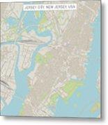 Jersey City New Jersey Us City Street Map Metal Print