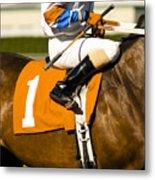Jockey Rides Horse Along Track Metal Print