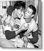 Joe Dimaggio Rewards Winning Pitcher Metal Print
