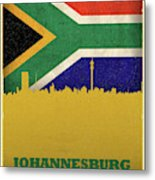 Johannesburg South Africa World City Flag Skyline Metal Print