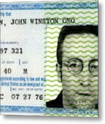 John Lennon Immigration Green Card 1976 Metal Print